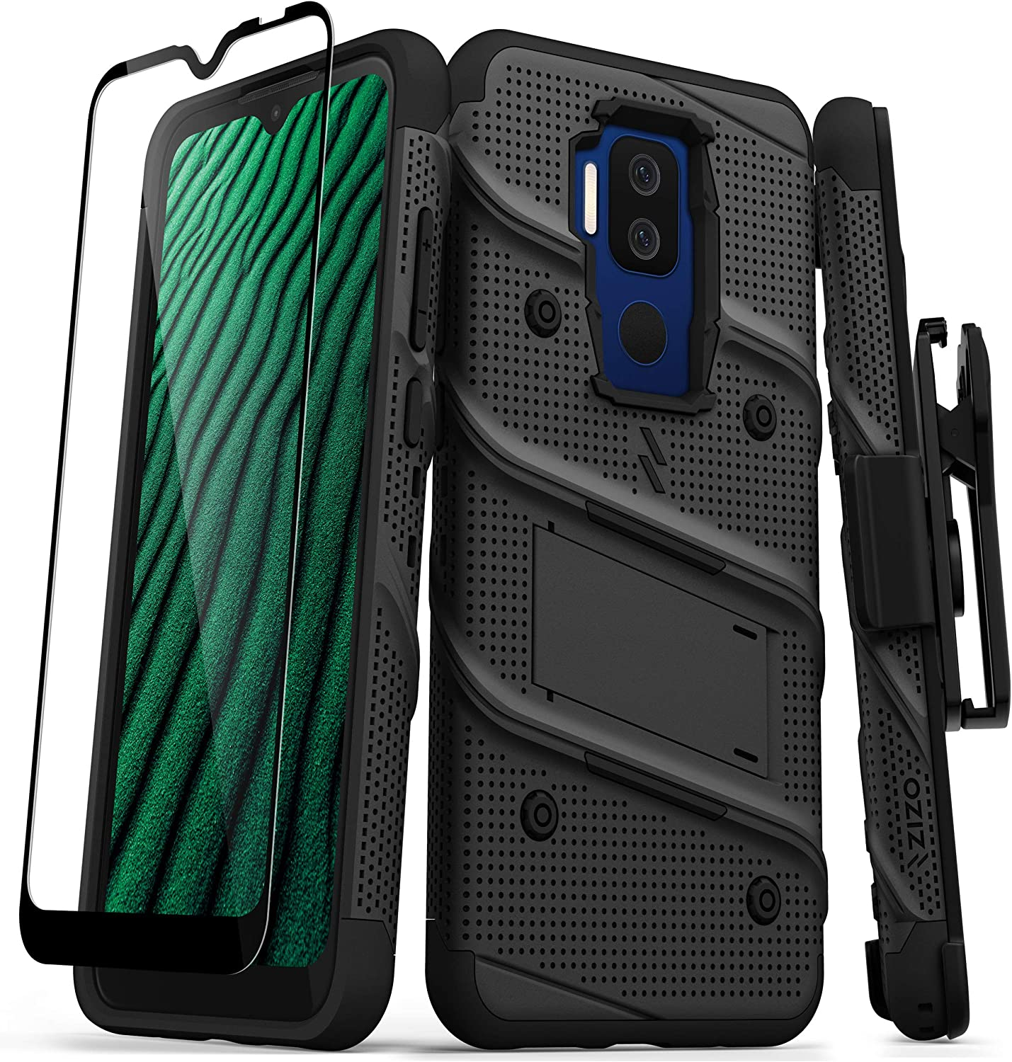 ZIZO Bolt Series for Cricket Influence Case with Screen Protector Kickstand Holster Lanyard - Black
