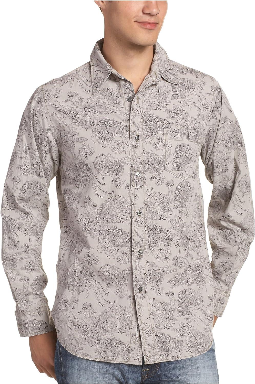 Lucky Brand Men's Skull Print Long Sleeve Western Shirt