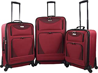 Travelers Club 3 Piece Expandable Skyview II Spinner Luggage Set, Red Color Option