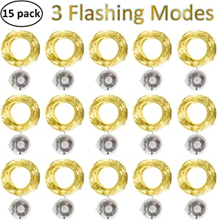 Starry String Fairy Lights 3 Flashing Mode Firefly Lights with Timer,20 Micro LED on 7.2feet/2m Silver Copper Wire Battery Powered for DIY Wedding Party Centerpiece Decorations Pack of 15 - Warm White