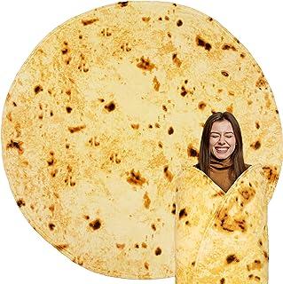 PAVILIA Burritos Tortilla Blanket Gift | Giant Tortilla Novelty Food Blanket, Double Sided Round Burrito Wrap Throw, Funny...