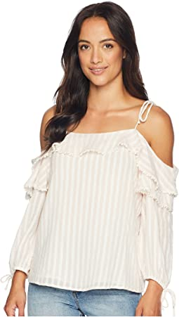 Striped Drop Shoulder Ruffled Blouse with Ties