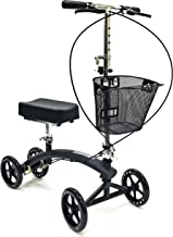 BodyMed Folding Knee Scooter with Dual Braking System and Basket - Great Alternative to Crutches - Broken Leg Walker - Steerable Mobility Device for Foot Or Ankle Injury