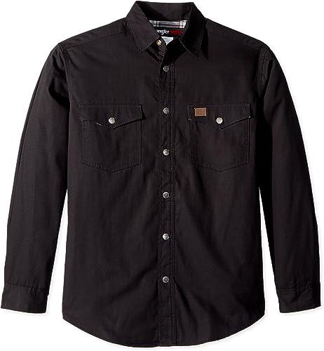 Wrangler Hommes's Riggs vêtehommests de travail Flannel Lined Ripstop Shirt, Optical noir, XL