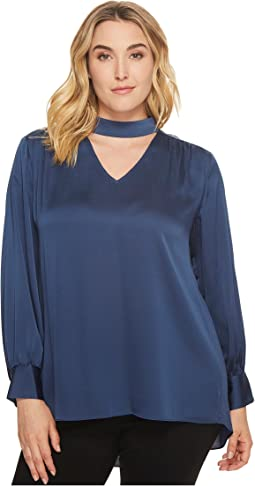 Vince Camuto Specialty Size - Plus Size Long Sleeve Mock Choker Neck V-Neck Blouse
