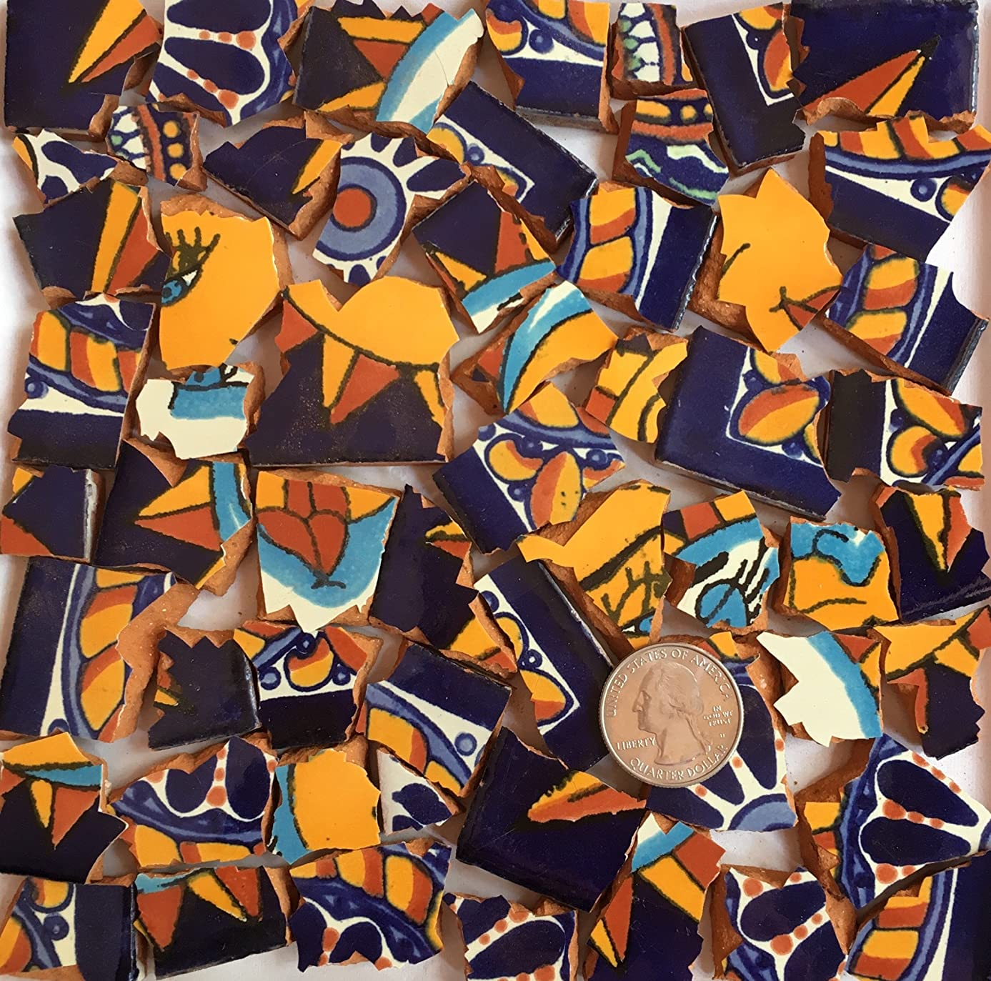 Mosaic Tiles Hand Cut Pieces Supply for Mosaics and Crafts Ready to Use Hand Painted and Cut Mexican Tile in Bright Color Coordinated Sets T 785