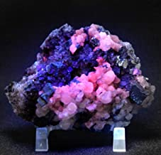 230g Red Calcite w/Galena & Quartz Stone Rough Pink Glowing Under SW UV Light Natural Crystal Cluster Collectible Mineral ...