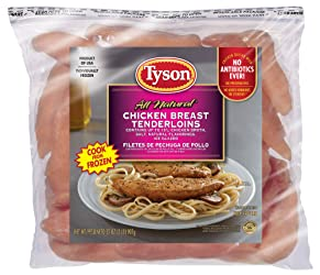Tyson Boneless Skinless Chicken Breast Tenderloins, 2 Pounds (Frozen)