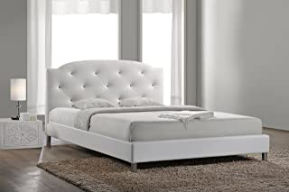 Baxton Studio Canterbury Leather Contemporary Bed, Full, White