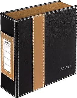 Hama CD Ordner für 28 CDs/DVDs/Blu rays, stabile Konstruktion mit Holz Seitenteilen, schwarz/braun
