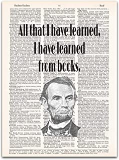Learned from Books - Abraham Lincoln Quote - Teacher Gift - Dictionary Page Art Print, 8x11 inches, Unframed
