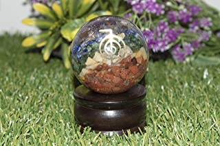 FASHIONZAADI Seven Chakra Orgone Sphere Ball with Cho Ku Rei Healing Symbol for Gemstone Crystal Stone Energy Meditation Aura Cleansing Peace of Mind Size: 50-55 mm Approx