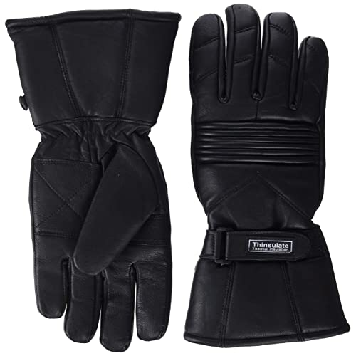 Bikers Gear Motorcycle Thinsulate and Waterproof Leather Gloves Size Medium Black