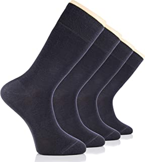 Men's Bamboo Dress Socks Seamless Toe Business Crew Men Thin Socks, 4 Pairs, Shoe Size: 8-12