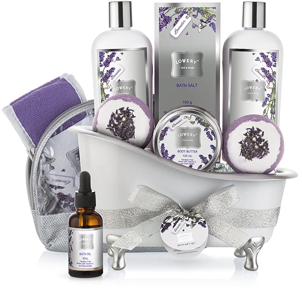 Bath Gift Basket Set for Women: Relaxing at Home Spa Kit Scented with Lavender and Jasmine - Includes Large Bath Bombs, Salts, Shower Gel, Body Butter Lotion, Bath Oil, Bubble Bath, Loofah and More