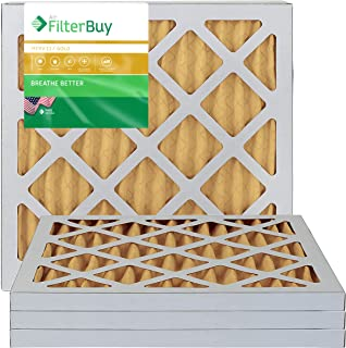 FilterBuy 18x18x1 MERV 11 Pleated AC Furnace Air Filter, (Pack of 4 Filters), 18x18x1 – Gold