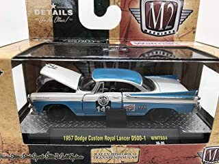 M2 Machines Rally Historico Transpeninsular 1957 Dodge Custom Royal Lancer D500-1 1:64 Scale WMTS04 16-35 White/Blue Details Like NO Other! Over 42 Parts 1 of 6800