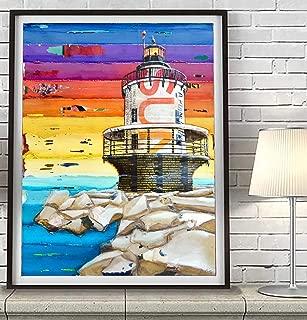 On the Rocks Portland Maine Lighthouse, Danny Phillips Art Print, Unframed, Vintage Nautical Coastal Beach and Home Decor Painting, All Sizes