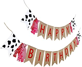 Farm Theme Birthday Banner, Burlap Barn Party Sign, Cow Print Fabric Happy Bday Banner Decorations