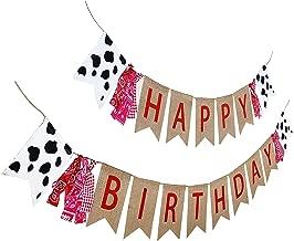Farm Theme Birthday Banner, Burlap Barn Party Sign, Cow Print Fabric Happy Bday Banner Decorations