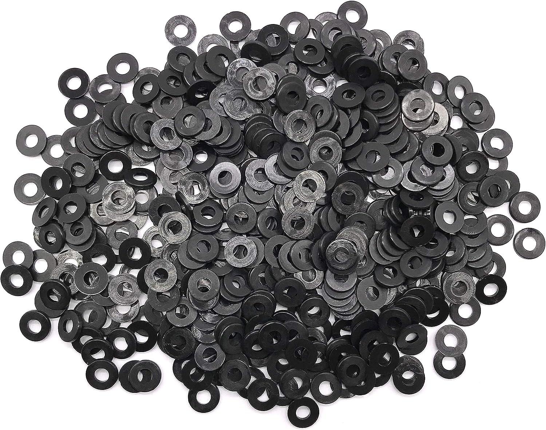 NACX 1000Pcs Black Nylon Plastic Round Flat Washer Gasket Spacer Fastener M3 x 7mm x 1mm