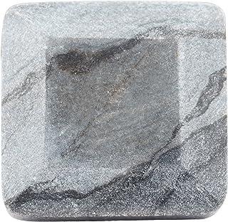 Juego de 4 pomos cuadrados facetados de mármol gris o tiradores para armarios aparadores y cajones