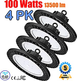 GENPAR 100W 4PK UFO LED High Bay Light 400W HPS/MH Equivalent 13500LM lumens Daylight White 6000-6500K IP65 Waterproof Warehouse Lighting Fixture Commercial Lighting Factory Shop Industrial Garage