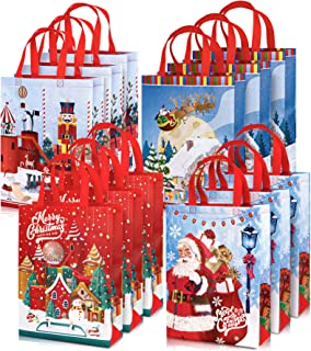 Whaline 12 Pack Christmas Non-Woven Bags Large Tote Bags with Handles Reusable Gift Bag Grocery Shopping Bags Santa Xmas T...