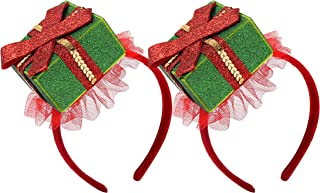 Christmas Headband Novelty Accessories Women Costumes Headwear (red green)