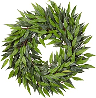 Home Pure Garden 18-Inch Artificial Ficus Microphylla Leaf Wreath � Indoor Lifelike Round Faux Greenery for Seasonal and Holiday Decor Office