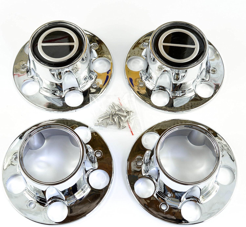 BB Auto Set of 4 New 4wd Chrome Wheel Center Caps Black Replacem