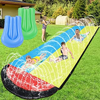 WDERNI Slip and Slide, 15.7 FT Water Slide for Kids Adults, Slip n Slide with 2 Surfboards, Outdoor Waterslide with Crash ...