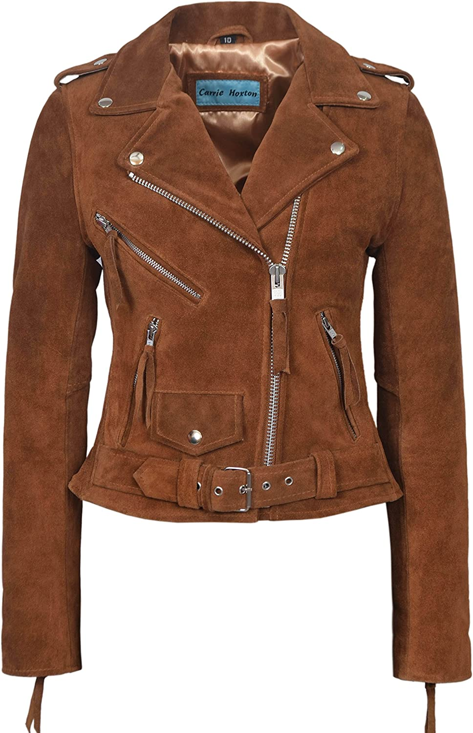 'CLASSIC BRANDO Ladies TAN SUEDE Biker Style Motorcycle Real soft Leather Jacke