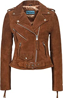 Ladies Brando Leather Jacket 100% Suede Fitted Biker Motorcycle Style MBF