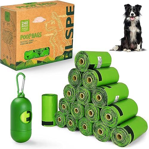BLSPE Dog Poop Bags Pet Dog Supplies 240 Bag 16 Rolls With Dispenser and Waste Dog Poop Bag Leash Clip for Doggie Cat...