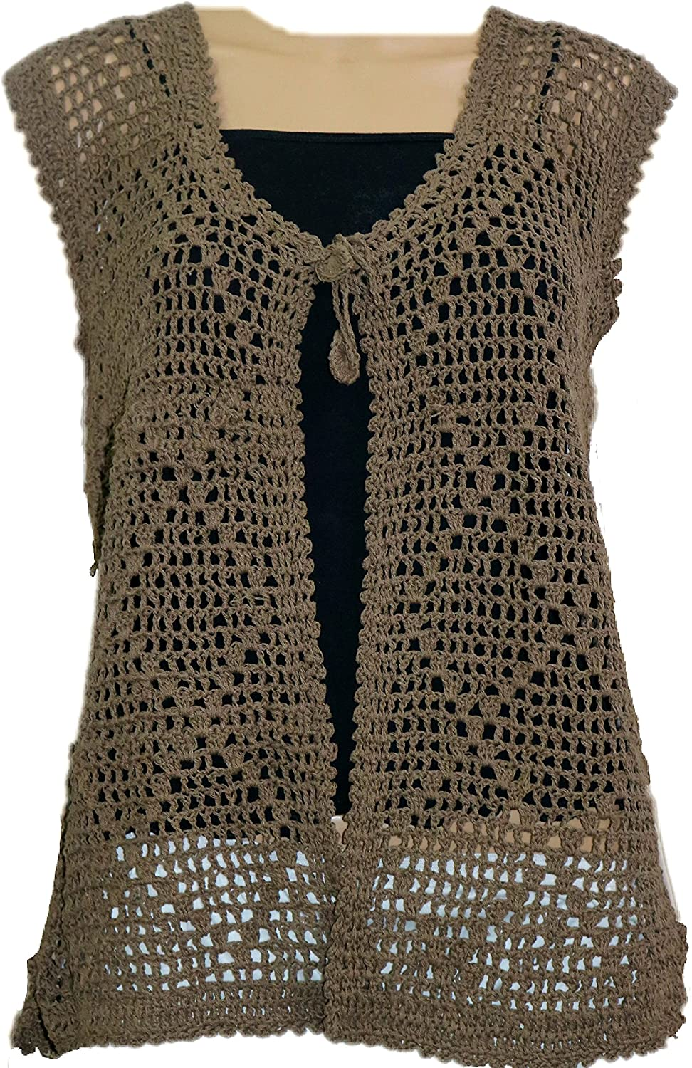 WOMENS HAND WOVEN LACE CROCHET NEW SLEEVLESS JACKET, OPEN FRONT WITH A KNOT ...