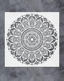 GSS Designs Large Mandala Wall Decor Stencil (16x16 Inch) Yoga Studio Decor Mandala Art Painting Stencil for Wood Wall Furniture Floor Tiles Fabric Art Painting(SL-066)