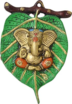 Two Moustaches Ganesha On Green Patta Wall Hanging