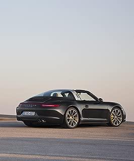 Porsche 911 (991) Targa 4S (2014) Car Art Poster Print on 10 mil Archival Satin Paper Black Rear Side Portrait Static View 20