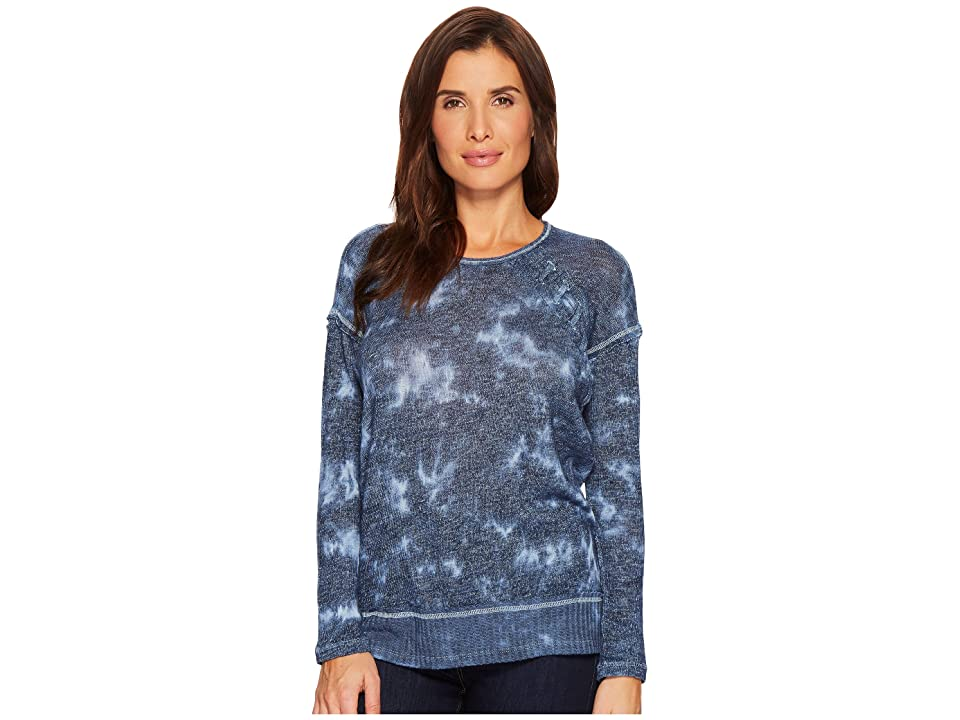 Tribal Sweater Knit Jersey Drop Shoulder Long Sleeve Top (Deep Sky) Women