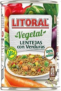 LITORAL Vegetal Lentejas con Verduras, Plato Preparado Sin Gluten - 430 gr