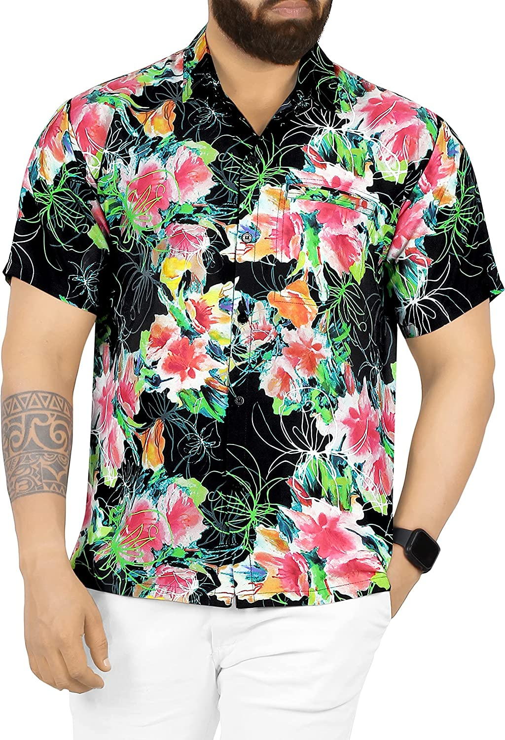 HAPPY New life BAY Men's Finally popular brand 3D HD Swim Short Relaxed Beach Camp Sleev Outfit