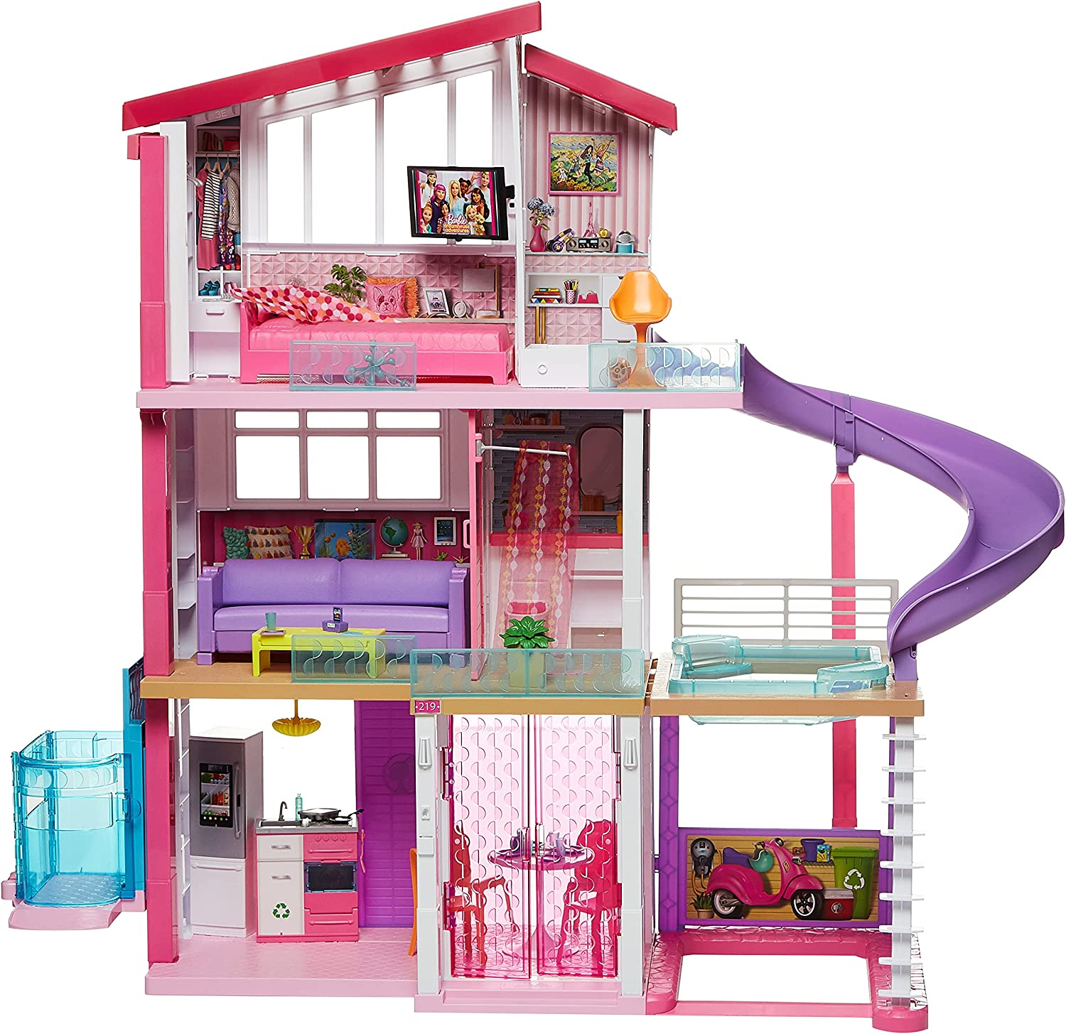 Barbie Dreamhouse Dollhouse with Wheelchair Accessible Elevator, Pool, Multi