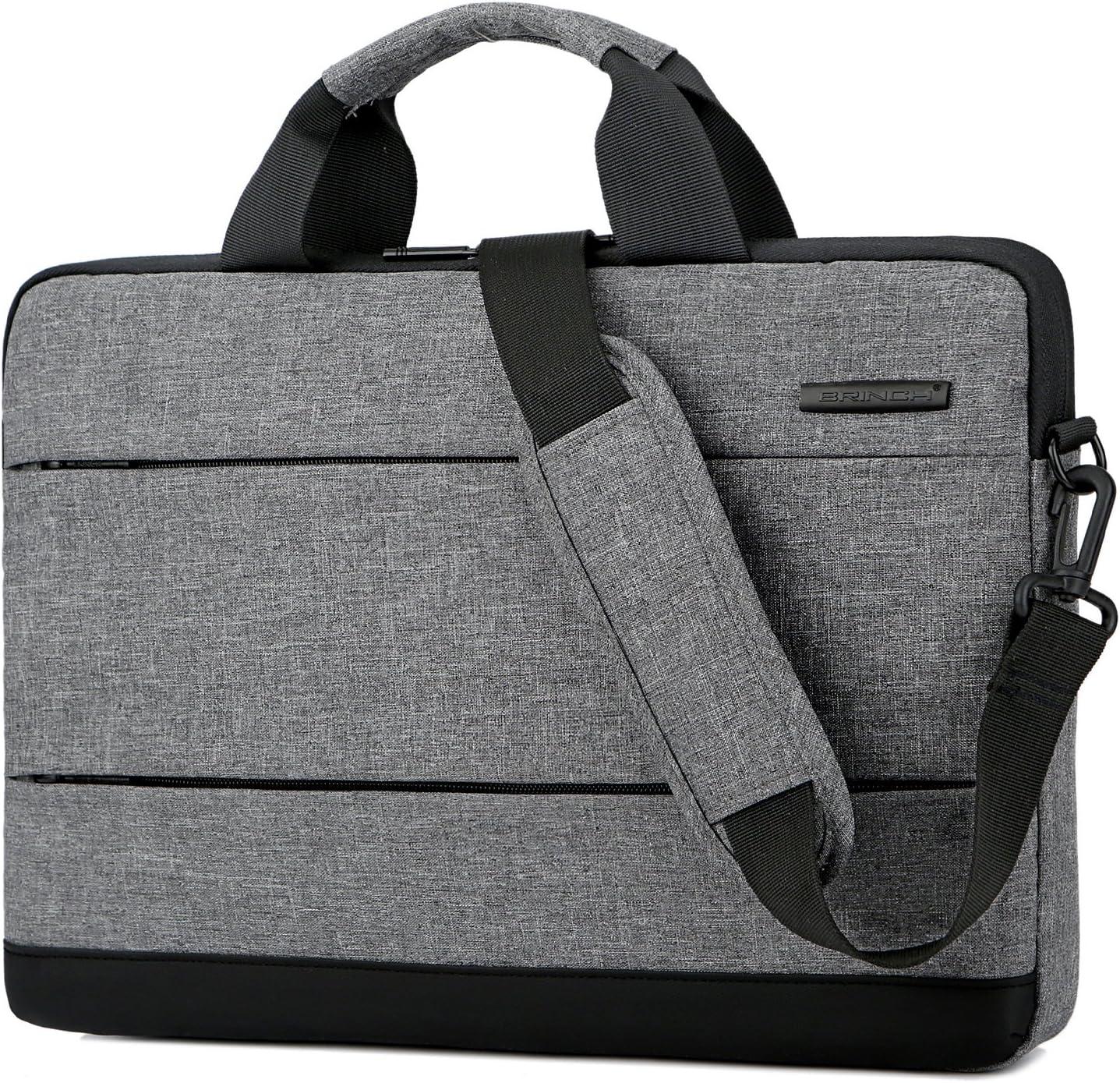 BRINCH Slim 15.6 Inch Laptop Bag,Classic Lightweight Portable Messenger Bag Sleeve Case Shoulder Bag for Work/Travel,Fits 15-15.6 Inches Laptop/Notebook/MacBook/Ultrabook Computer,Grey