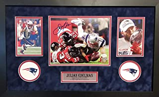 Julian Edelman New England Patriots Signed Autograph Custom Framed 8x10 Suede Matted to 16x26 The Catch Photo Photograph JSA Witnessed Certified