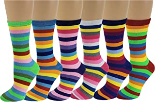 Differenttouch 6 Pairs Women's Fancy Design Multi Color Novelty Crew Socks