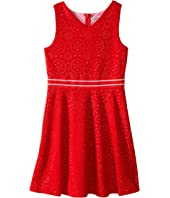 Us Angels - Laser Cut Pique Sleeveless Fit & Flare w/ Novelty Waist (Big Kids)