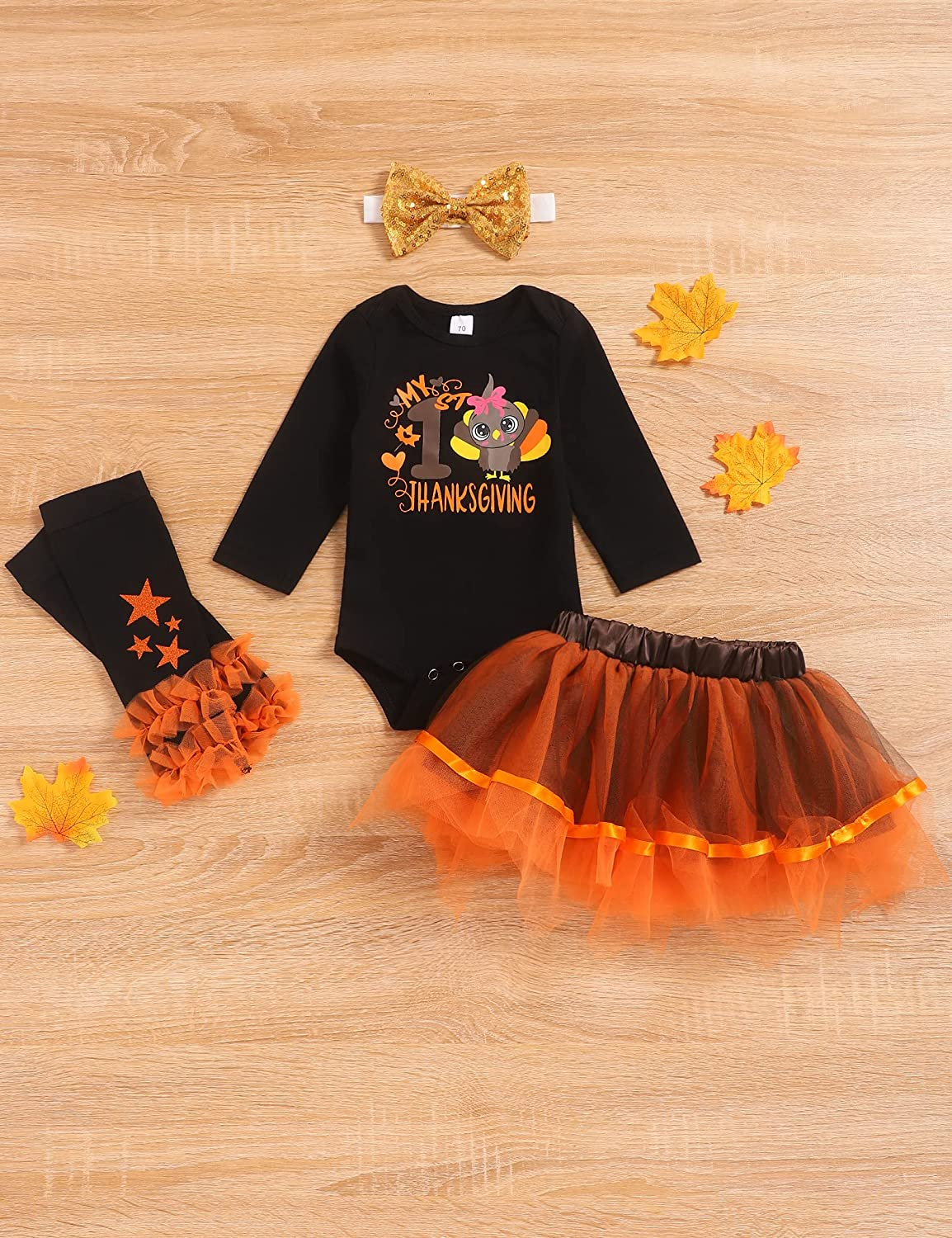My First Thanksgiving Baby Girl Clothes Ruffle Long Sleeve Tops Plaid Dress Set