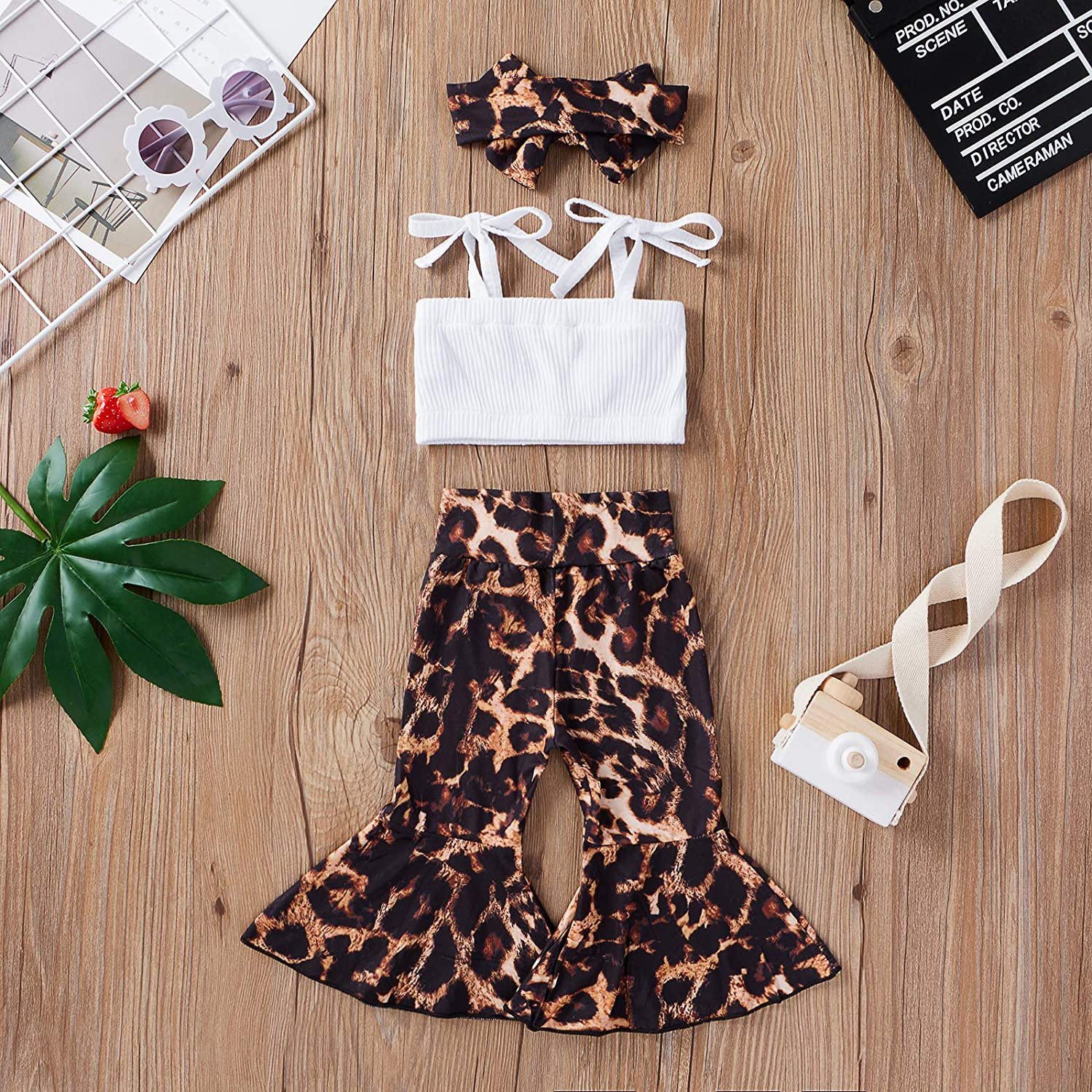 Toddler Baby Girls Summer Outfits Ruffle Crop Tops Halter Sunflower Floral Bowknot Pants Kids Clothes Sets