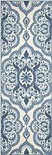 Maples Rugs Vivian Medallion Runner Rug Non Slip Hallway Entry Carpet [Made in USA], 2 x 6, Blue
